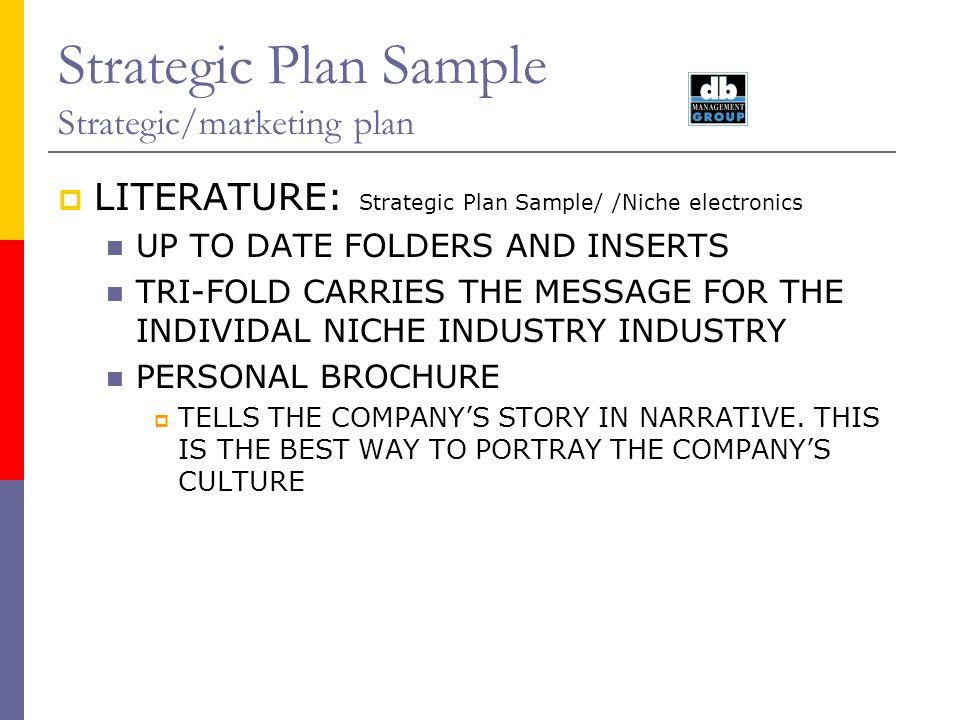 Strategic Plan Sample Strategic/marketing plan LITERATURE: Strategic Plan Sample/ /Niche electronics UP TO DATE FOLDERS AND INSERTS TRI-FOLD CARRIES T