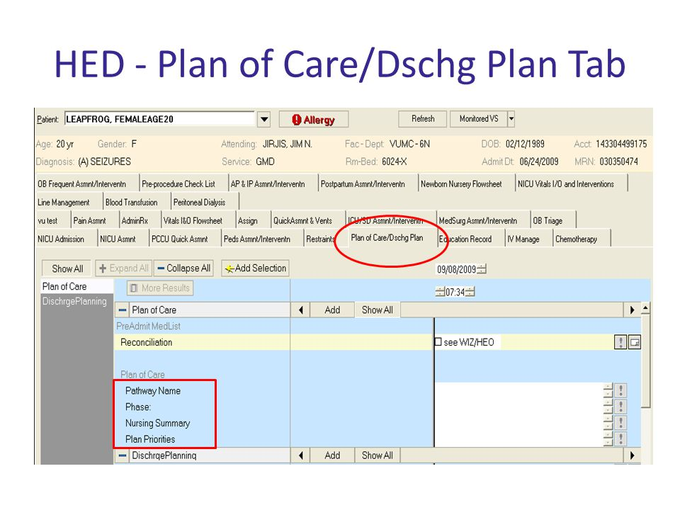 HED - Plan of Care/Dschg Plan Tab