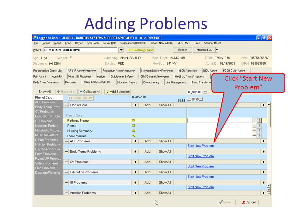Click Start New Problem Adding Problems