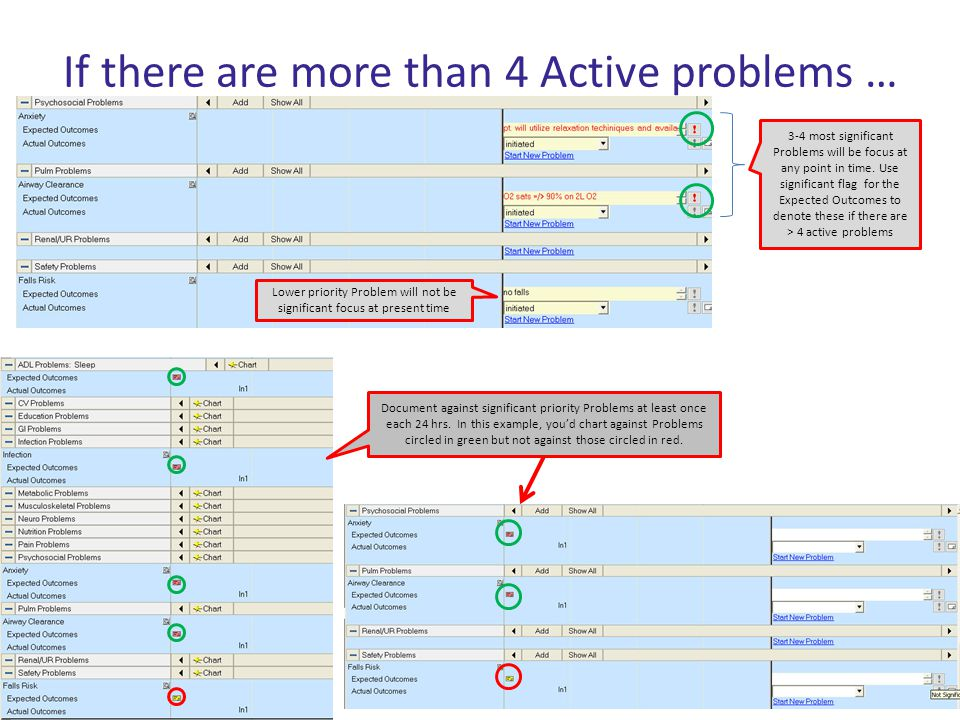If there are more than 4 Active problems … Lower priority Problem will not be significant focus at present time 3-4 most significant Problems will be
