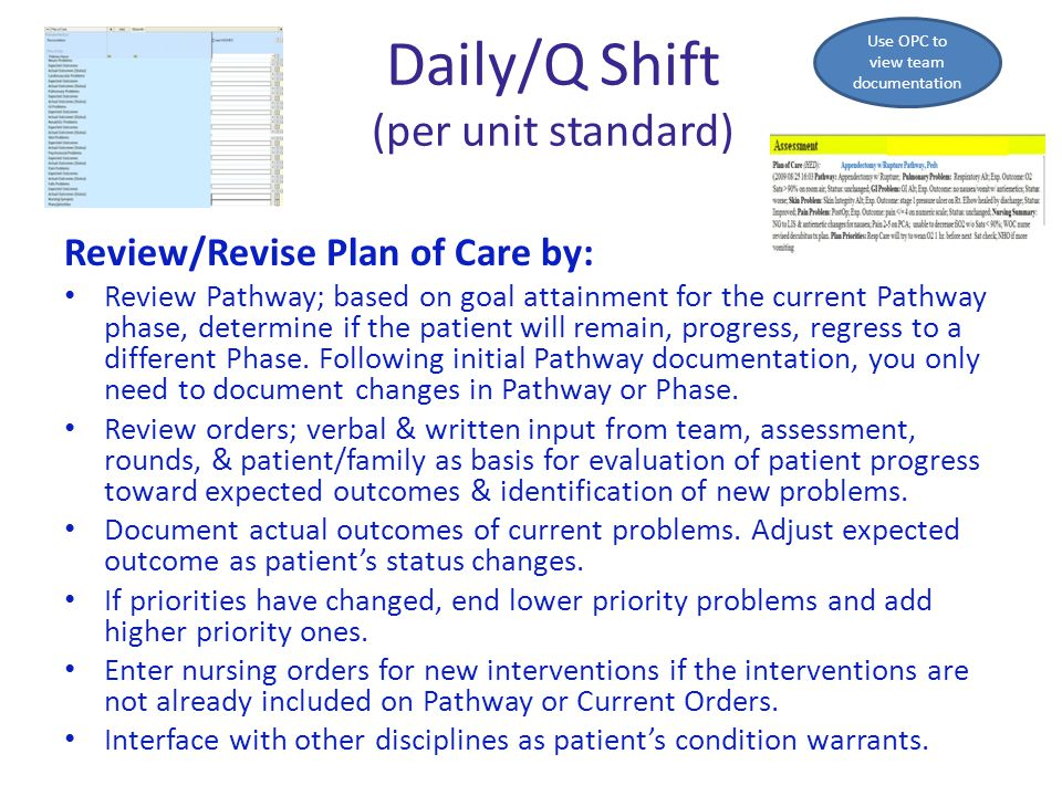 Daily/Q Shift (per unit standard) Review/Revise Plan of Care by: Review Pathway; based on goal attainment for the current Pathway phase, determine if