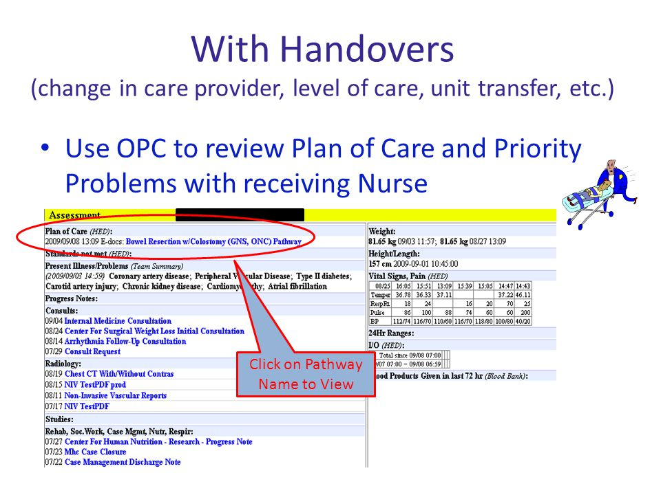 With Handovers (change in care provider, level of care, unit transfer, etc.) Use OPC to review Plan of Care and Priority Problems with receiving Nurse
