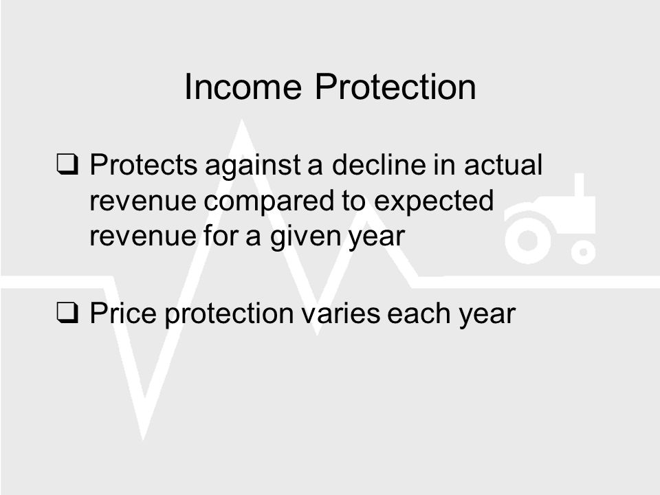 Income Protection Protects against a decline in actual revenue compared to expected revenue for a given year Price protection varies each year