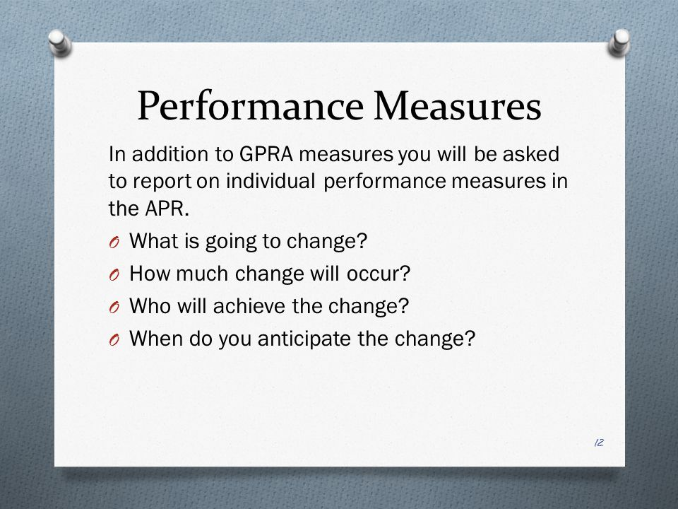 Performance Measures In addition to GPRA measures you will be asked to report on individual performance measures in the APR.