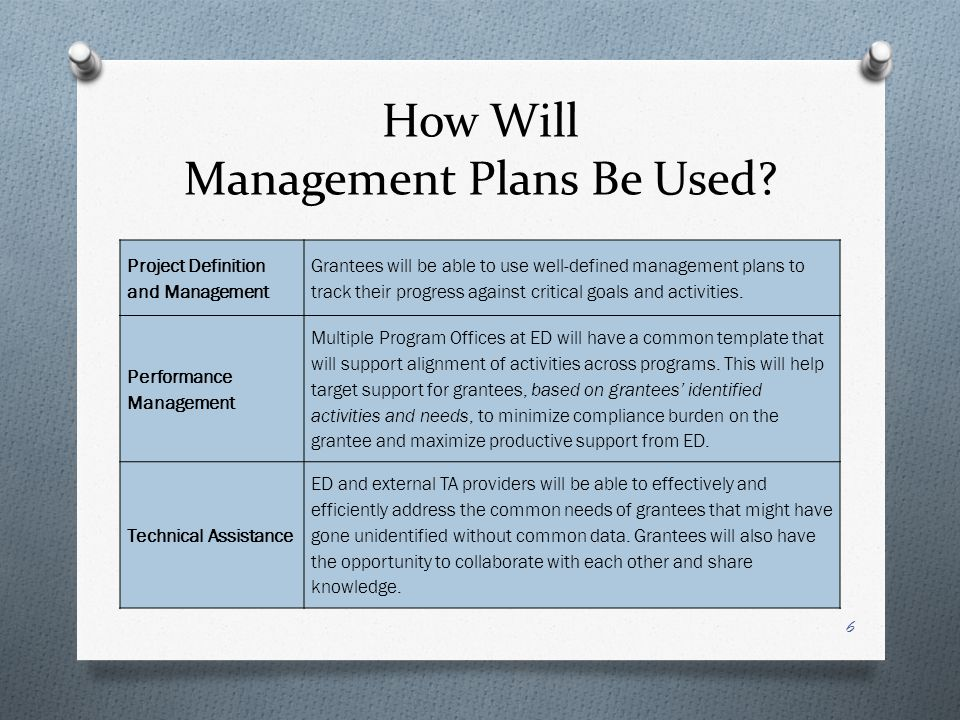 How Will Management Plans Be Used.