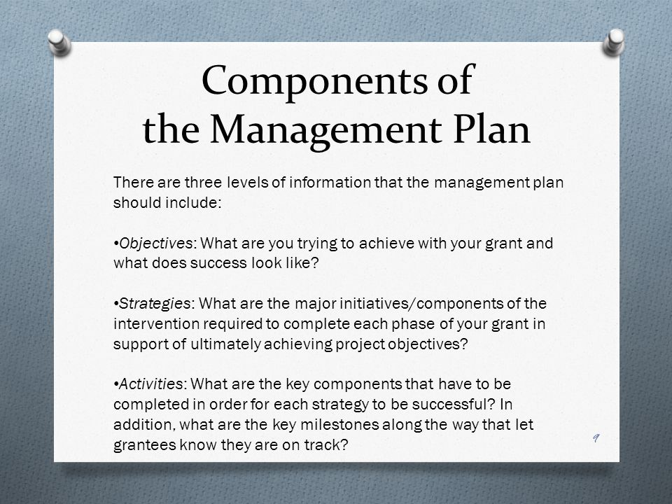 Components of the Management Plan There are three levels of information that the management plan should include: Objectives: What are you trying to achieve with your grant and what does success look like.