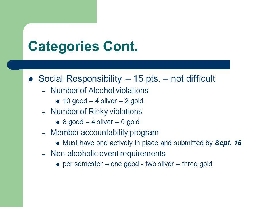 Categories Cont. Social Responsibility – 15 pts. – not difficult – Number of Alcohol violations 10 good – 4 silver – 2 gold – Number of Risky violatio