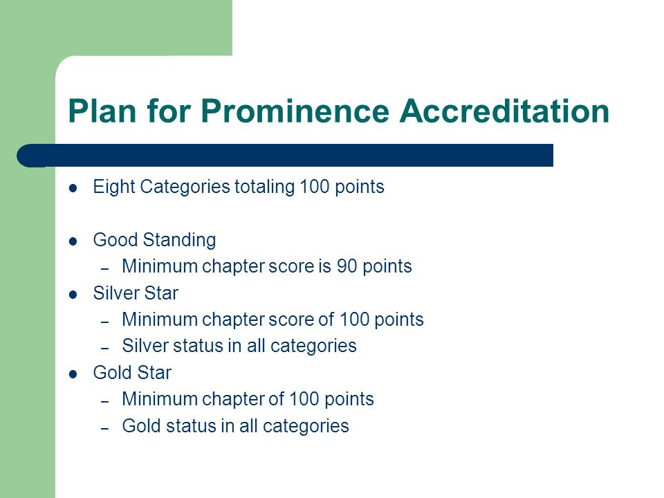 Eight Plan for Prominence Categories Academics – 20 pts – 10 pts/semester – All Chapter gpa of 3.0 or higher – All Chapter gpa of 3.33 or higher – All Chapter gpa of 3.50 or higher – Academic Plan submitted by Feb.