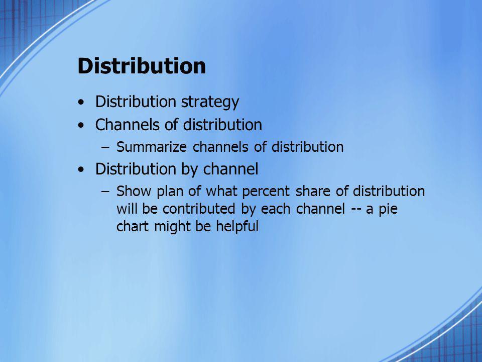 Distribution Distribution strategy Channels of distribution –Summarize channels of distribution Distribution by channel –Show plan of what percent sha