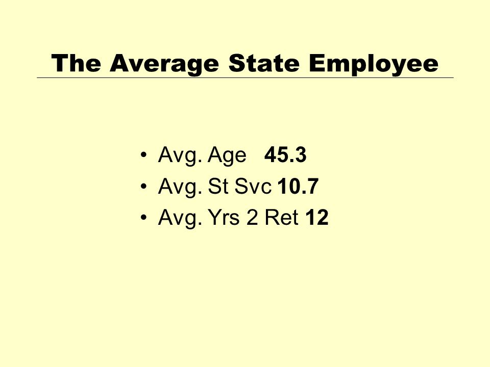 The Average State Employee Avg. Age 45.3 Avg. St Svc 10.7 Avg. Yrs 2 Ret 12
