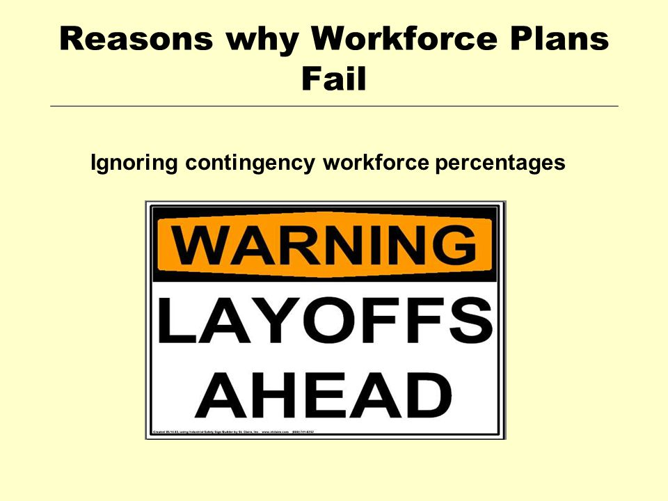 Reasons why Workforce Plans Fail Ignoring contingency workforce percentages