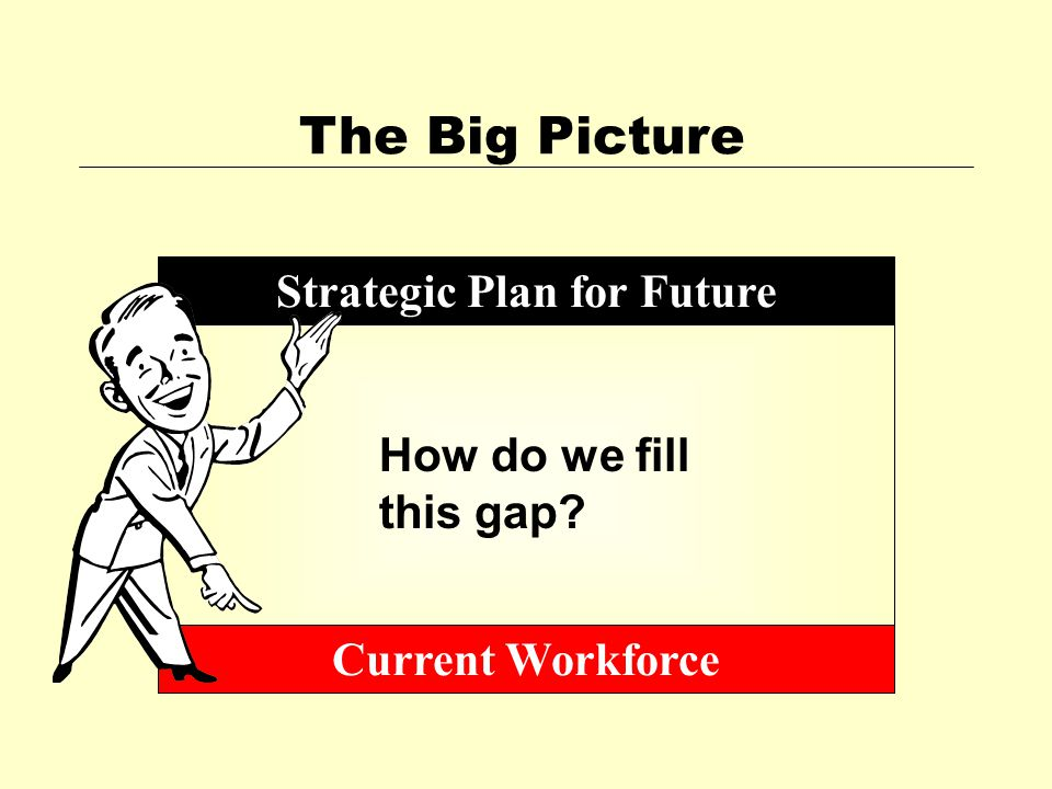 The Big Picture Strategic Plan for Future Current Workforce How do we fill this gap