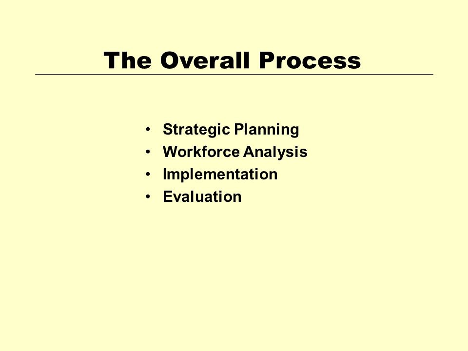 The Overall Process Strategic Planning Workforce Analysis Implementation Evaluation