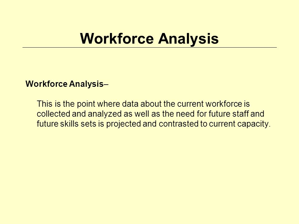 Workforce Analysis Workforce Analysis– This is the point where data about the current workforce is collected and analyzed as well as the need for future staff and future skills sets is projected and contrasted to current capacity.
