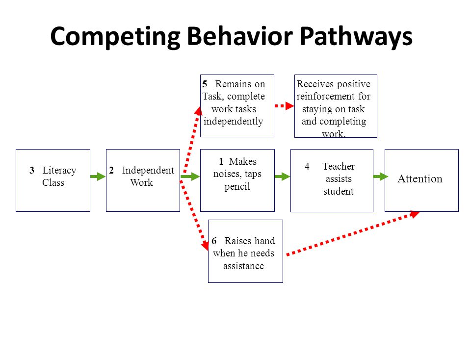 Competing Behavior Pathways 3 Literacy Class 1 Makes noises, taps pencil 2 Independent Work 4Teacher assists student 6 Raises hand when he needs assis