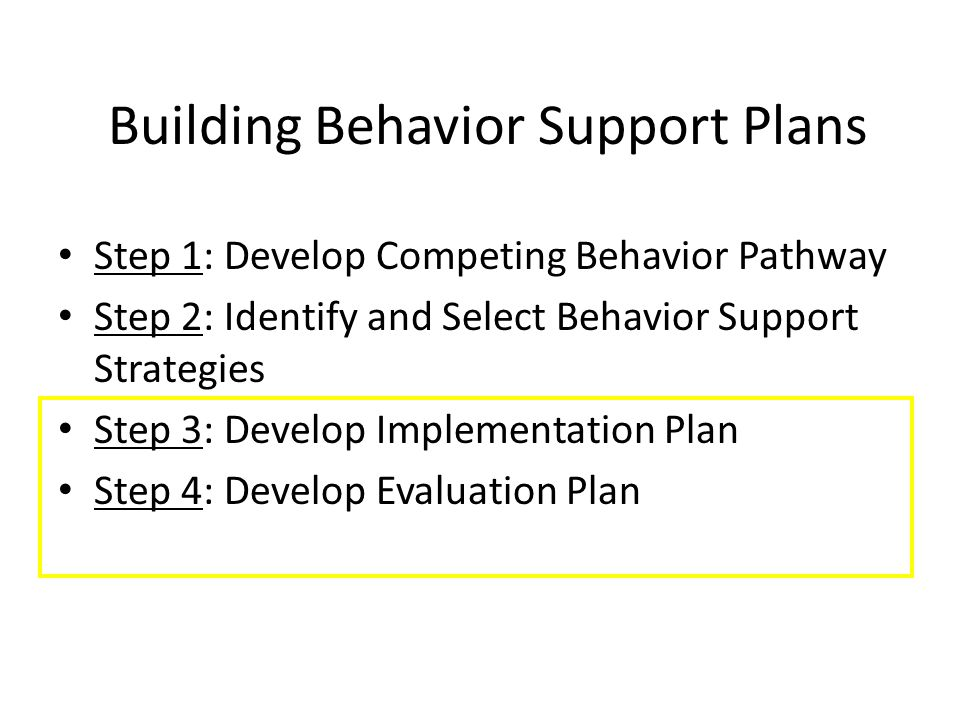Building Behavior Support Plans Step 1: Develop Competing Behavior Pathway Step 2: Identify and Select Behavior Support Strategies Step 3: Develop Imp