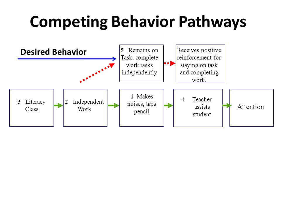Competing Behavior Pathways 3 Literacy Class 1 Makes noises, taps pencil 2 Independent Work 4Teacher assists student Attention 5 Remains on Task, comp