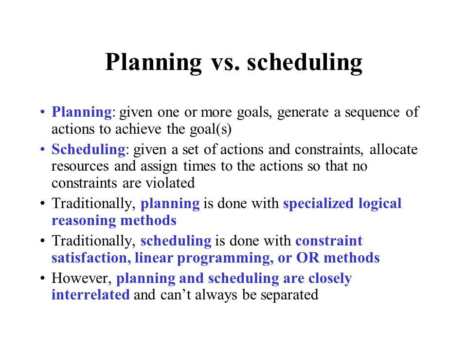 Planning vs.