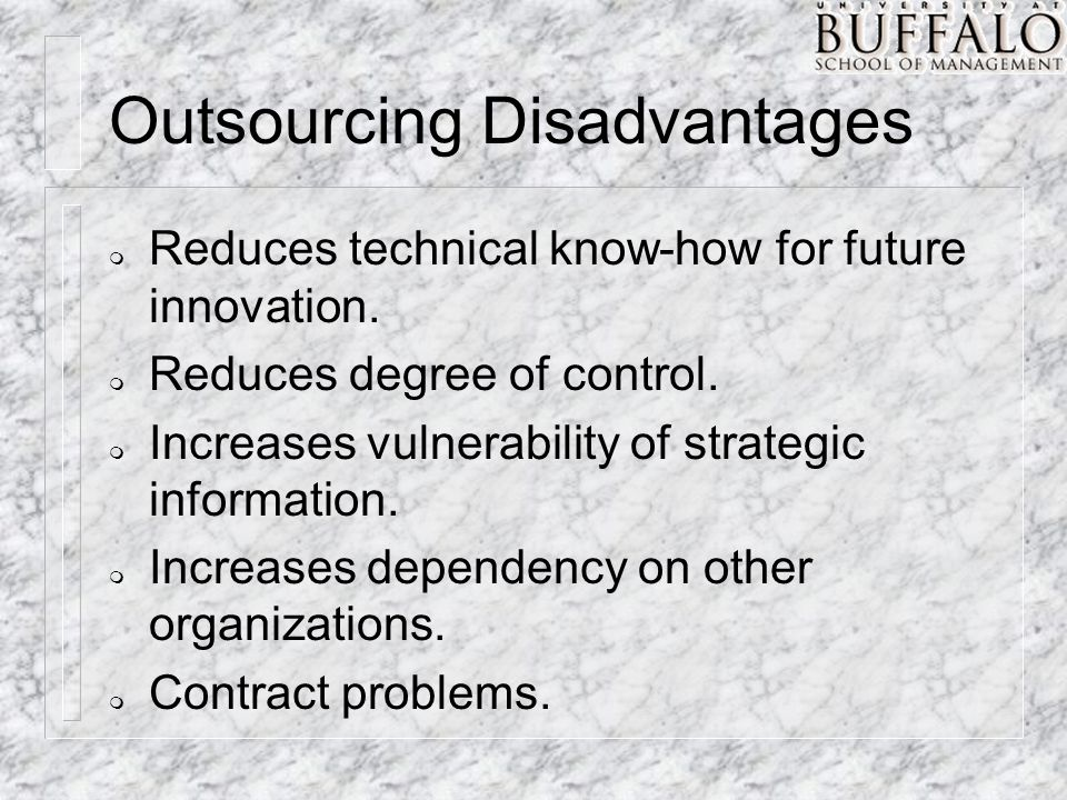 Outsourcing Disadvantages m Reduces technical know-how for future innovation.