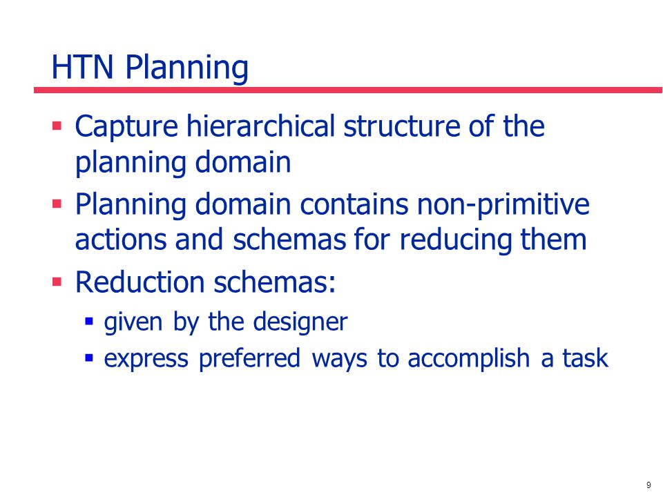 9 HTN Planning Capture hierarchical structure of the planning domain Planning domain contains non-primitive actions and schemas for reducing them Reduction schemas: given by the designer express preferred ways to accomplish a task