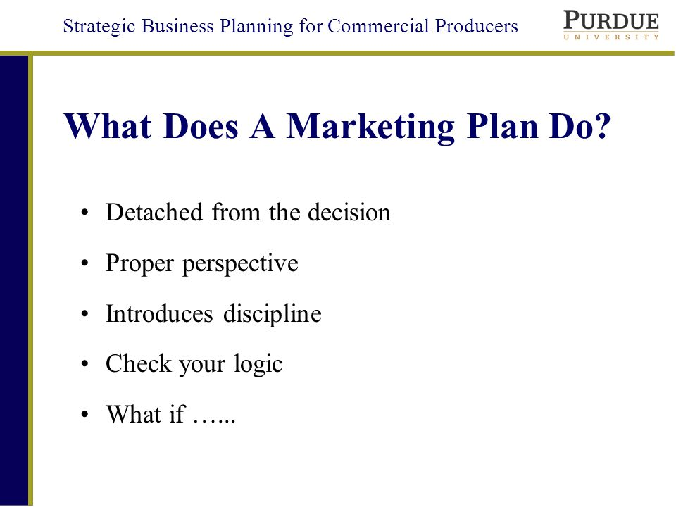 Strategic Business Planning for Commercial Producers What Does A Marketing Plan Do.