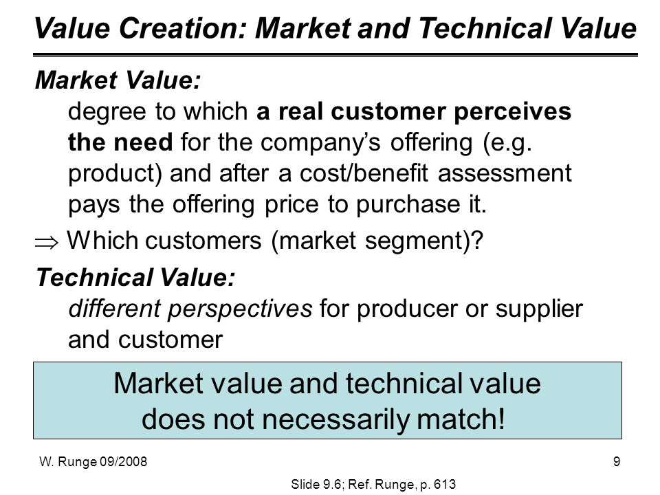 W. Runge 09/20089 Market value and technical value does not necessarily match! Value Creation: Market and Technical Value Slide 9.6; Ref. Runge, p. 61