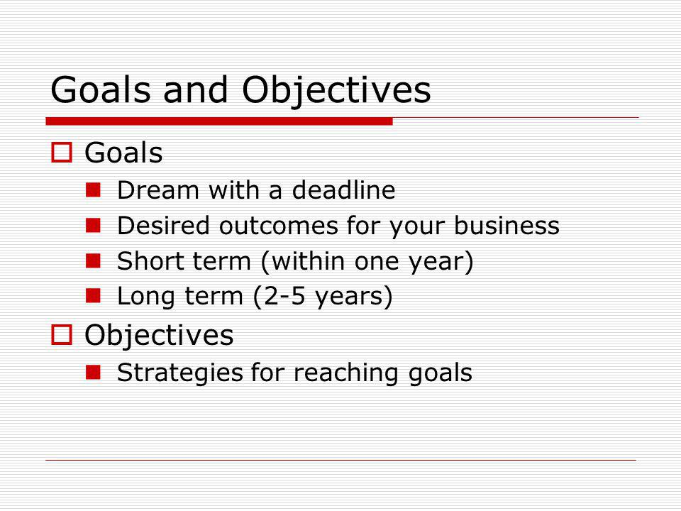 Goals and Objectives Goals Dream with a deadline Desired outcomes for your business Short term (within one year) Long term (2-5 years) Objectives Strategies for reaching goals