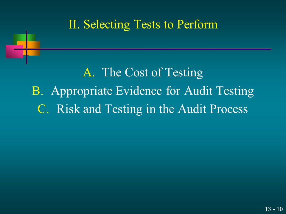 13 - 10 II. Selecting Tests to Perform A.The Cost of Testing B.Appropriate Evidence for Audit Testing C.Risk and Testing in the Audit Process