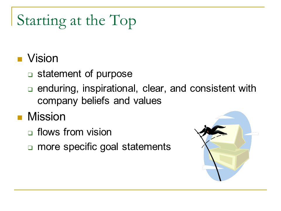 Starting at the Top Vision statement of purpose enduring, inspirational, clear, and consistent with company beliefs and values Mission flows from vision more specific goal statements