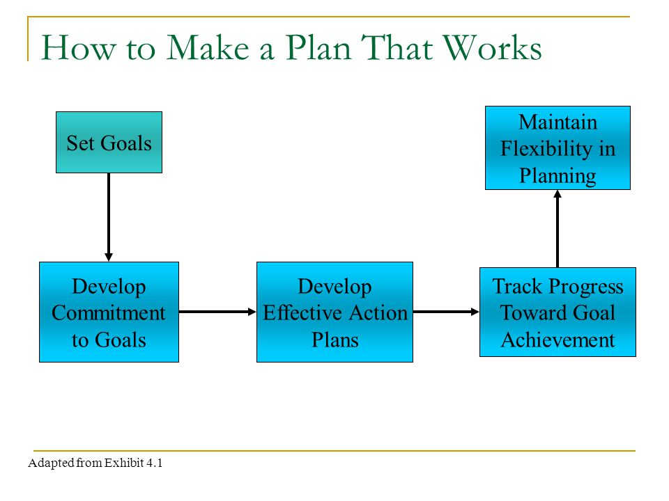 How to Make a Plan That Works Set Goals Develop Commitment to Goals Develop Effective Action Plans Track Progress Toward Goal Achievement Maintain Flexibility in Planning Adapted from Exhibit 4.1
