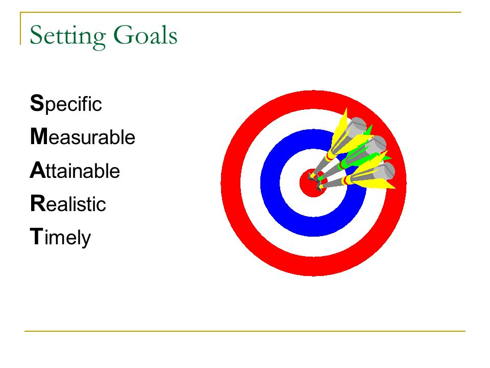 Setting Goals S pecific M easurable A ttainable R ealistic T imely