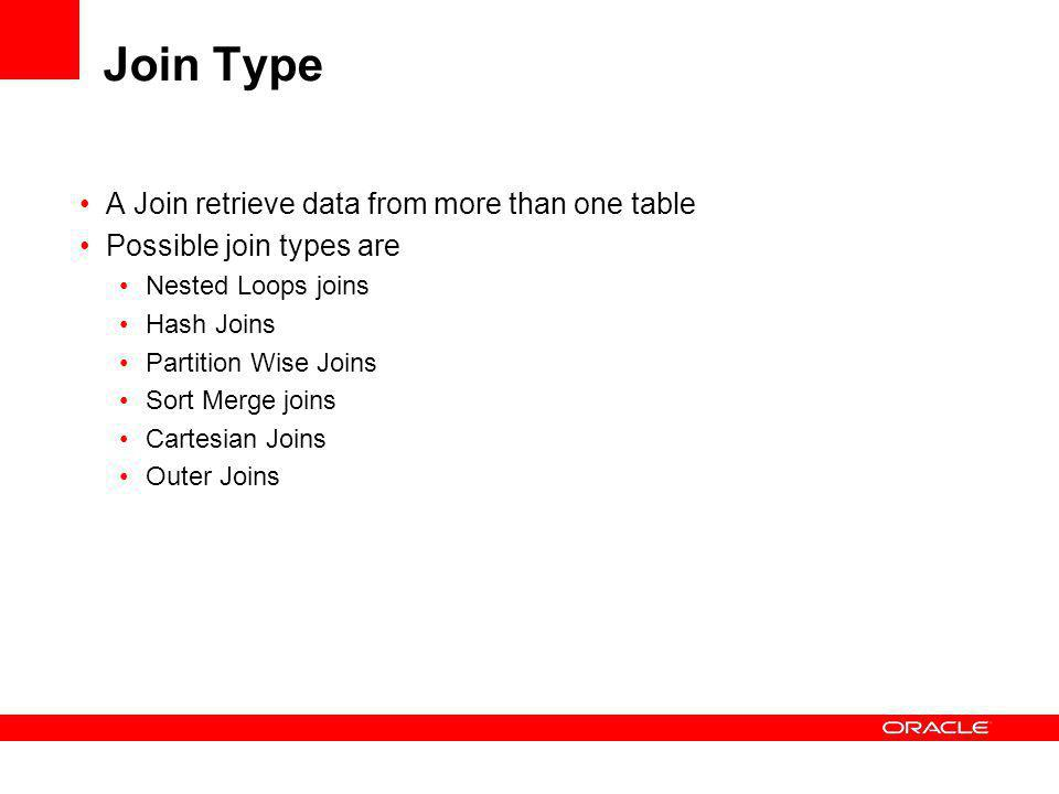 Join Type A Join retrieve data from more than one table Possible join types are Nested Loops joins Hash Joins Partition Wise Joins Sort Merge joins Cartesian Joins Outer Joins