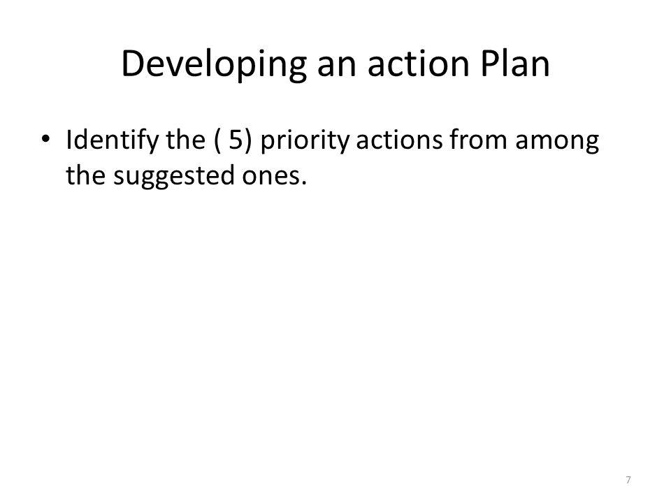Developing an action Plan Choose one or two indicators that will verify that the gap has been reduced or has disappeared.