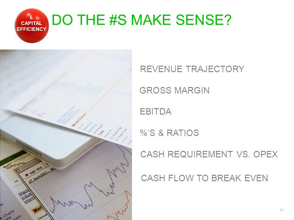 17 DO THE #S MAKE SENSE. GROSS MARGIN REVENUE TRAJECTORY EBITDA CASH REQUIREMENT VS.