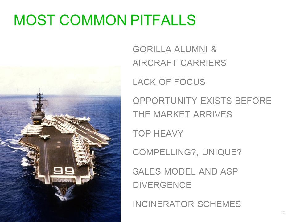 22 MOST COMMON PITFALLS GORILLA ALUMNI & AIRCRAFT CARRIERS LACK OF FOCUS OPPORTUNITY EXISTS BEFORE THE MARKET ARRIVES TOP HEAVY COMPELLING , UNIQUE.