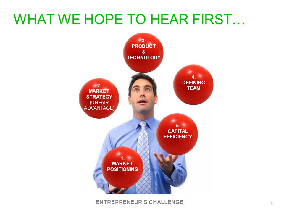 7 THE BIGGEST CHALLENGE….A.K.A. THE ELEVATOR PITCH 1.