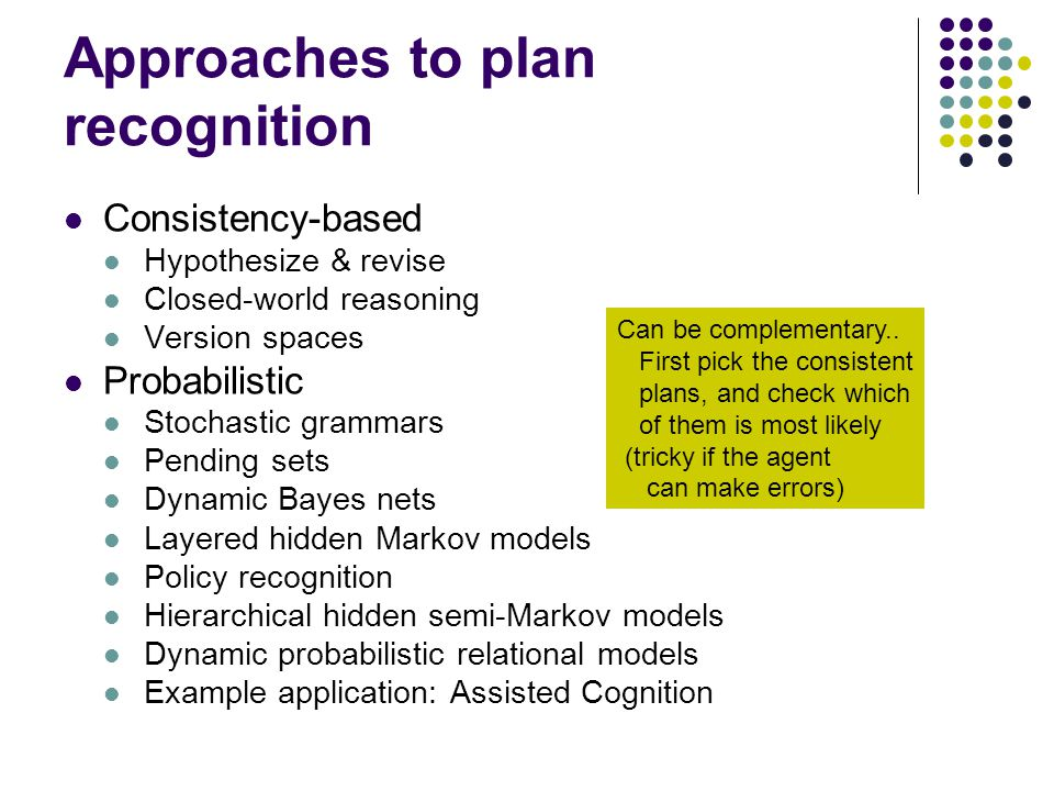 Approaches to plan recognition Consistency-based Hypothesize & revise Closed-world reasoning Version spaces Probabilistic Stochastic grammars Pending
