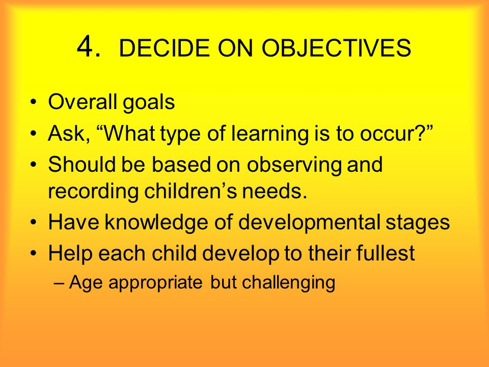 5. DECIDE ON LEARNING CENTER ACTIVITIES