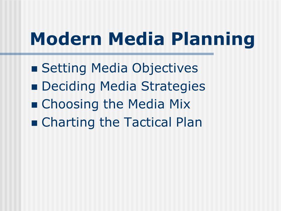 Modern Media Planning Setting Media Objectives Deciding Media Strategies Choosing the Media Mix Charting the Tactical Plan