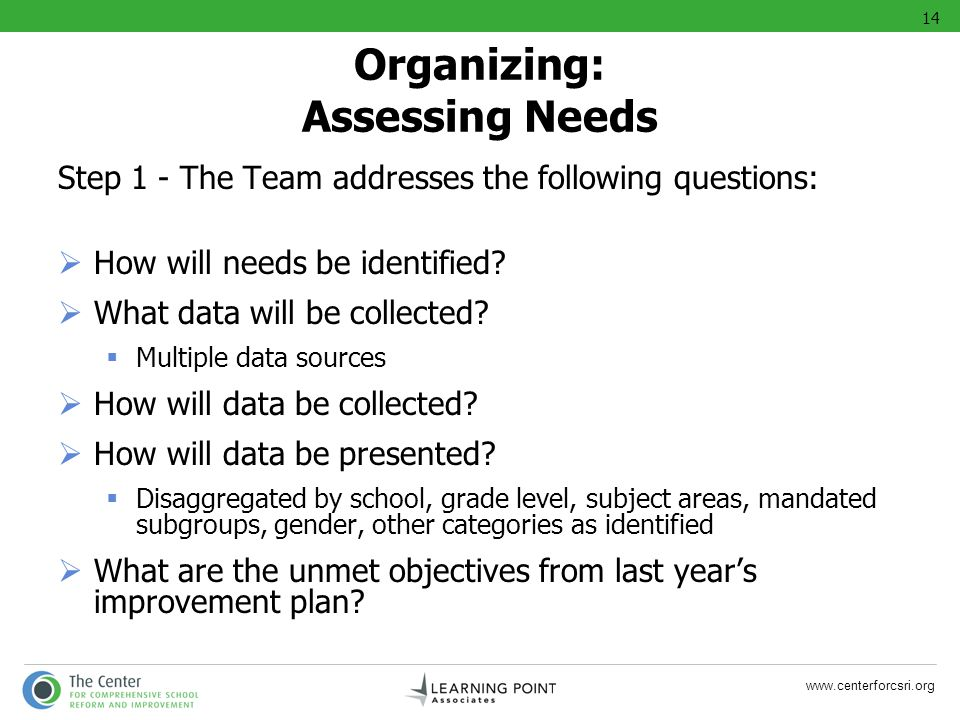 www.centerforcsri.org Organizing: Assessing Needs Step 1 - The Team addresses the following questions: How will needs be identified? What data will be