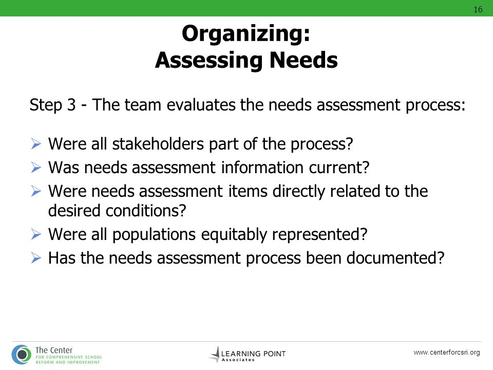 www.centerforcsri.org Organizing: Assessing Needs Step 3 - The team evaluates the needs assessment process: Were all stakeholders part of the process?