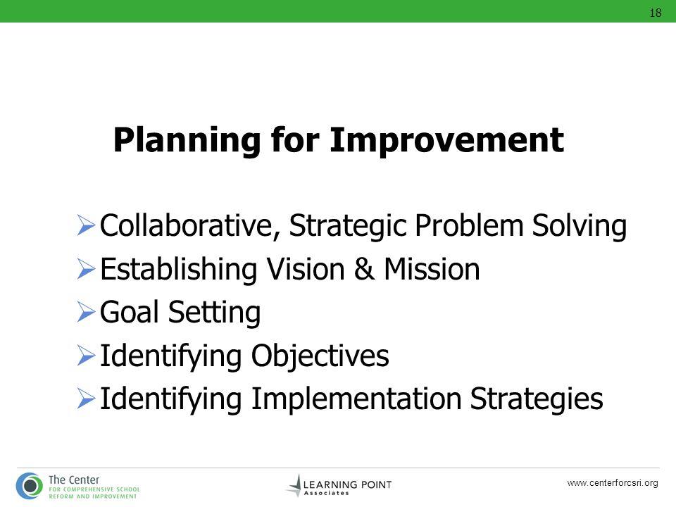 www.centerforcsri.org Planning for Improvement Collaborative, Strategic Problem Solving Establishing Vision & Mission Goal Setting Identifying Objecti