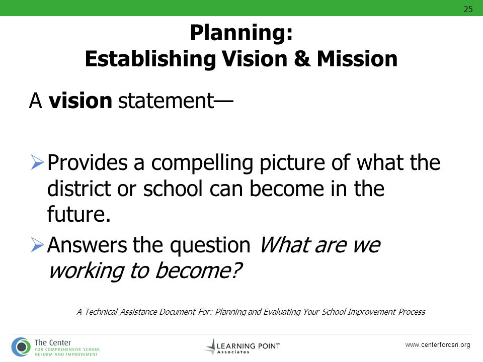www.centerforcsri.org A vision statement Provides a compelling picture of what the district or school can become in the future. Answers the question W