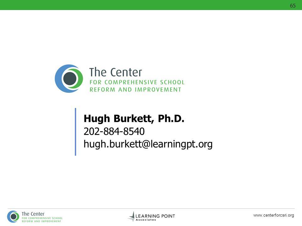 www.centerforcsri.org Hugh Burkett, Ph.D. 202-884-8540 hugh.burkett@learningpt.org 65