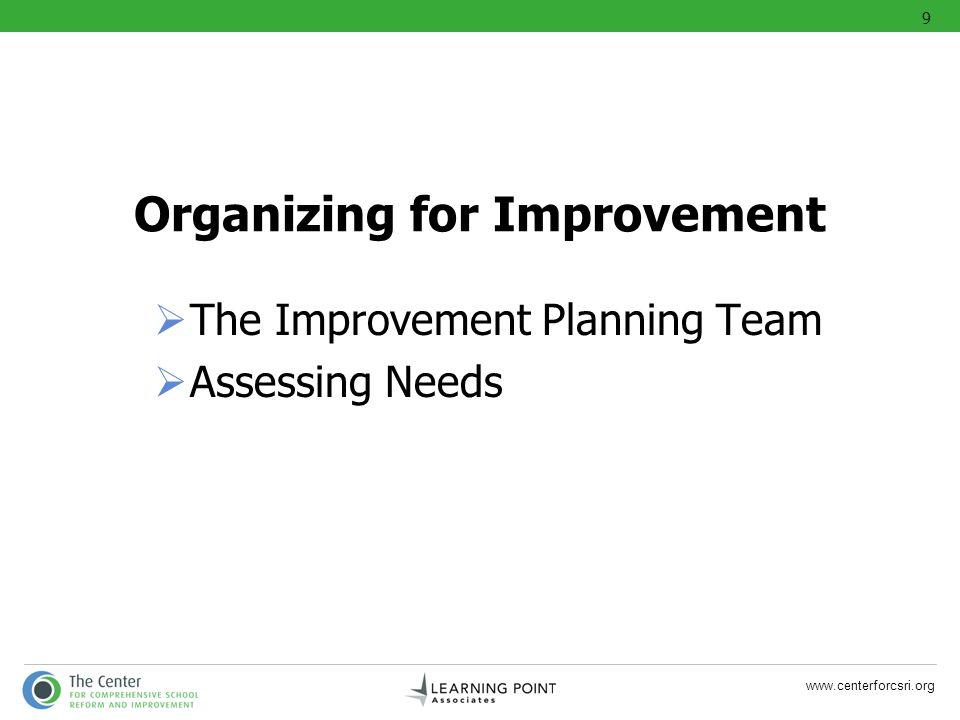 www.centerforcsri.org Organizing for Improvement The Improvement Planning Team Assessing Needs 9