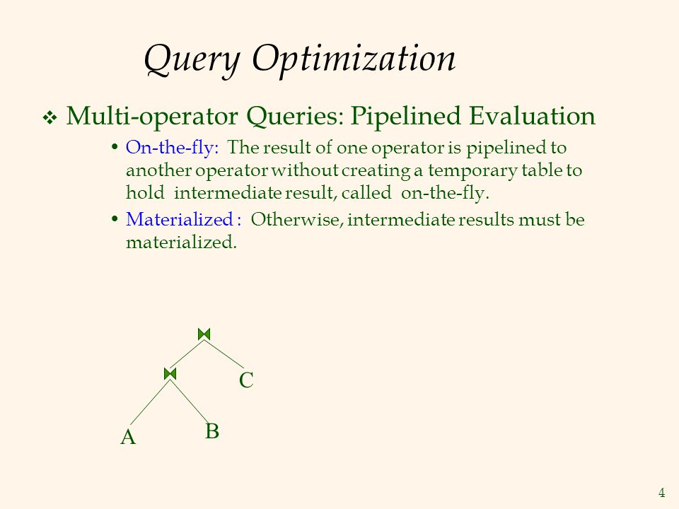 15 Summary A query is evaluated by converting it to a tree of operators and evaluating the operators in the tree.