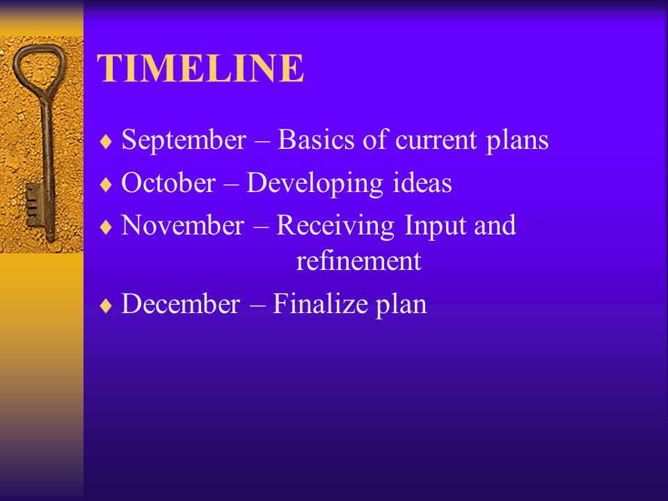 TIMELINE September – Basics of current plans October – Developing ideas November – Receiving Input and refinement December – Finalize plan