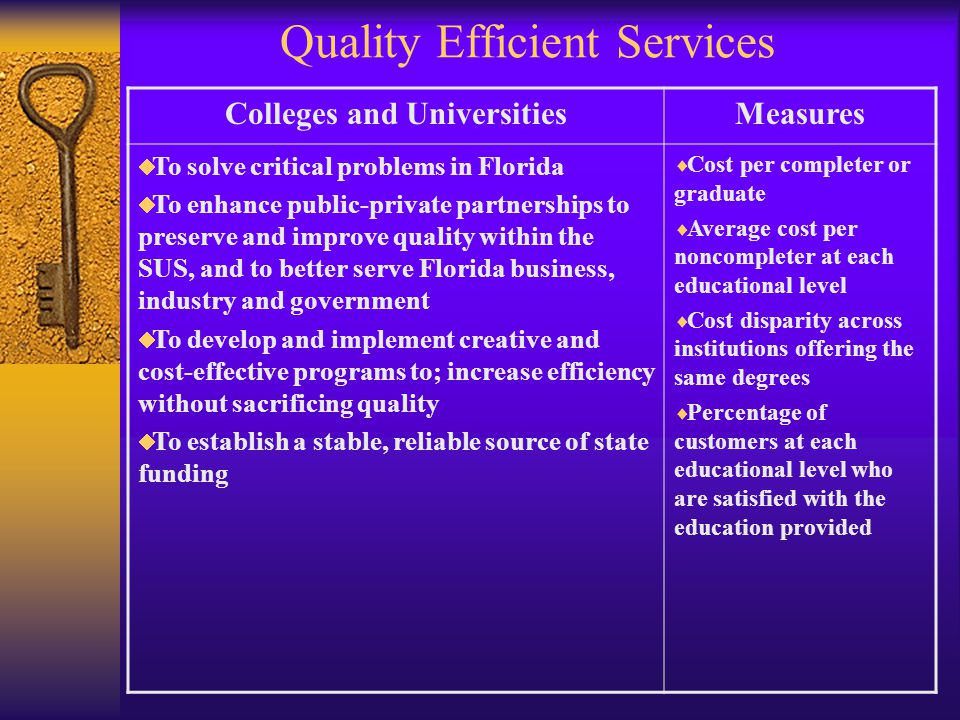 Quality Efficient Services Colleges and UniversitiesMeasures To solve critical problems in Florida To enhance public-private partnerships to preserve and improve quality within the SUS, and to better serve Florida business, industry and government To develop and implement creative and cost-effective programs to; increase efficiency without sacrificing quality To establish a stable, reliable source of state funding Cost per completer or graduate Average cost per noncompleter at each educational level Cost disparity across institutions offering the same degrees Percentage of customers at each educational level who are satisfied with the education provided