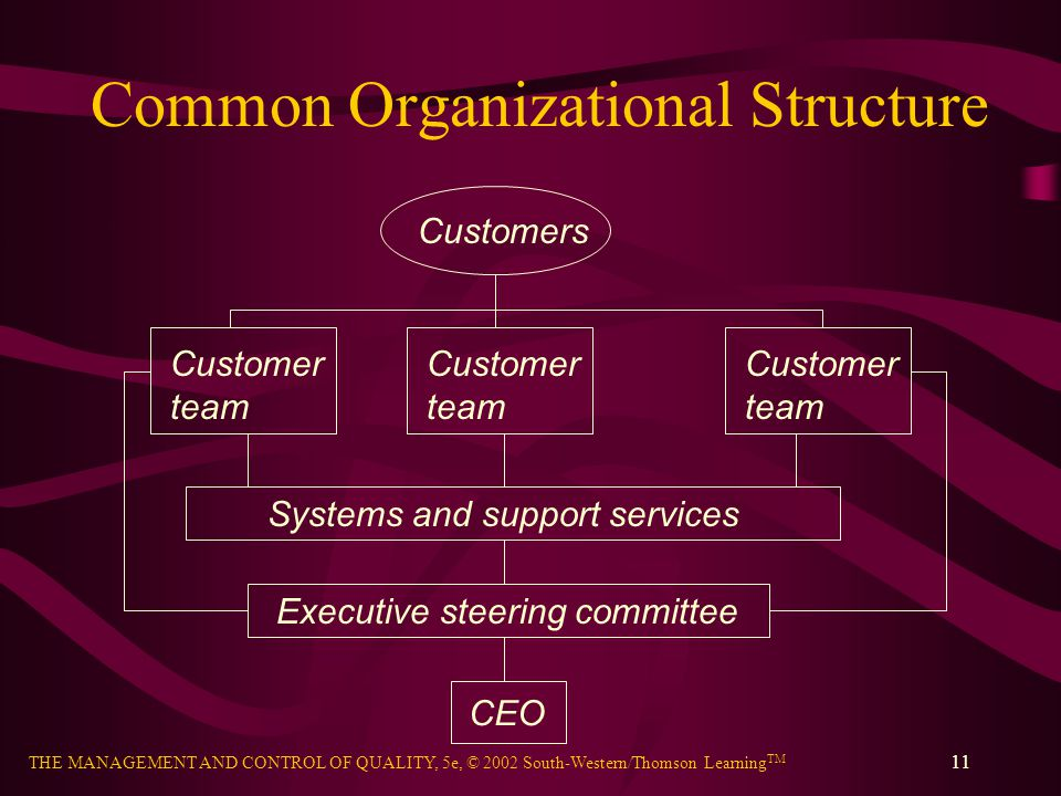 THE MANAGEMENT AND CONTROL OF QUALITY, 5e, © 2002 South-Western/Thomson Learning TM 11 Common Organizational Structure Customers Customer team Custome
