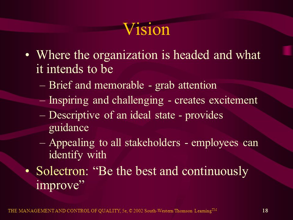 THE MANAGEMENT AND CONTROL OF QUALITY, 5e, © 2002 South-Western/Thomson Learning TM 18 Vision Where the organization is headed and what it intends to